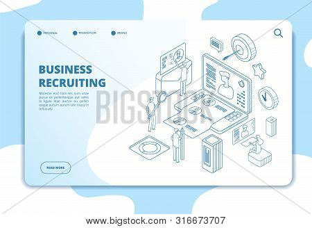Recruitment Agency Landing Page. Candidate And Employer, Human Resources Online Recruitment And Hiri