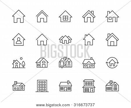 Houses Flat Line Icons Set. Home Page Button, Residential Building, Country Cottage, Apartment Vecto