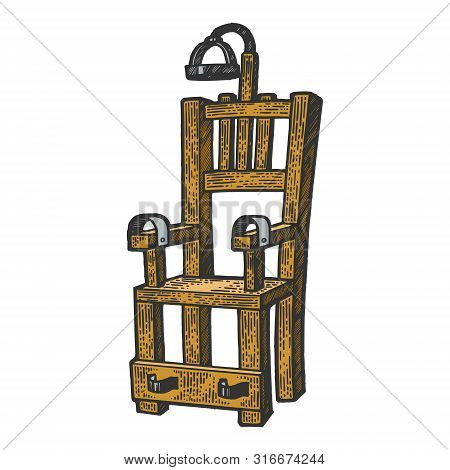 Electric Chair Execution Torture Device Color Sketch Engraving Vector Illustration. Scratch Board St