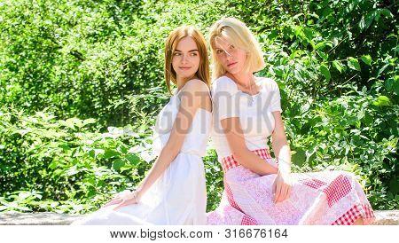 Carefree Youth Friends Hang Out Outdoors. Sisterhood Concept. Friendship Meeting. Girls Friends Natu