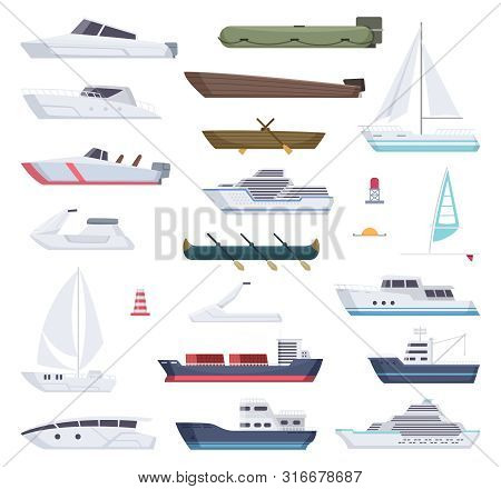 Boats. Water Sea Or Ocean Vessel Small And Big Ships And Sailor Boats Vector Cartoon Transport. Stea