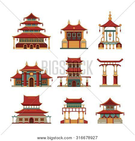 China Traditional Buildings. Cultural Japan Objects Gate Pagoda Palace Vector Cartoon Collection Of
