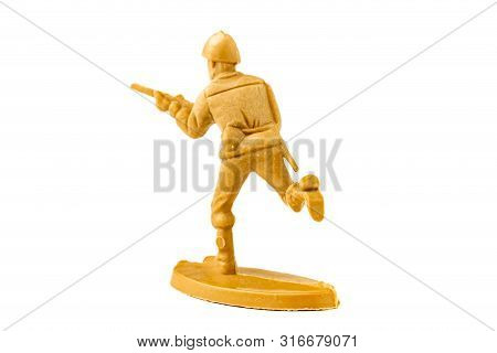 Plastic Toy Soldier Isolated On White Background.