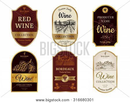 Wine Vintage Labels. Alcohol Wine Champagne Drinks Badges Luxury Style With Pictures Of Vineyard Sil