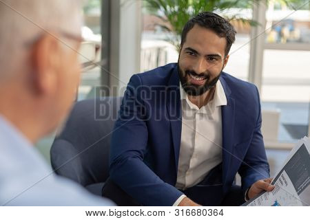 Close Up Of Handsome Manager That Consulting His Client