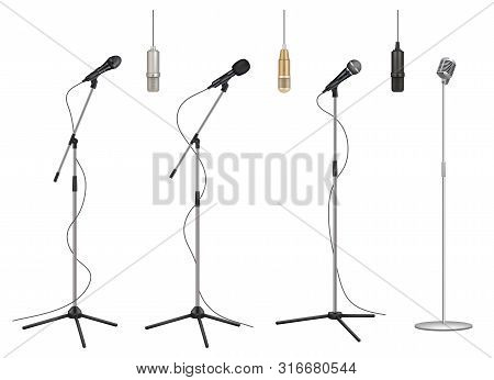 Mic Stand. Realistic Music Microphones Sound Studio Professional Equipment Vector Pictures Collectio