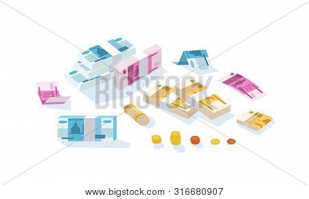 Set Of Fiat Money Or Russian Rouble Currency. Bundle Of Ruble Bills Or Banknotes In Stacks And Rolls