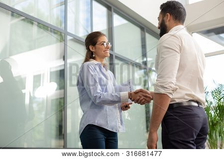 Joyful Young Female Person Communicating With Colleague