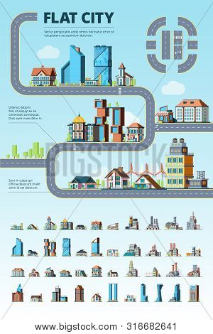 Flat City Infographic. Cityscape Municipal Buildings Urban Road Architectural Elements Vector Creati