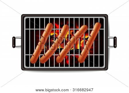 Hot Dog Grill Vector Realistic. Banner Tasty Menu Brochure Template Hot Sausages. 3d Illustration Fo