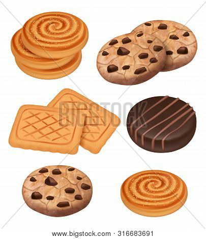 Cookies. Biscuits With Chocolate And Cream Pieces Snacks Vector Cooked Sweets Vector Realistic Templ