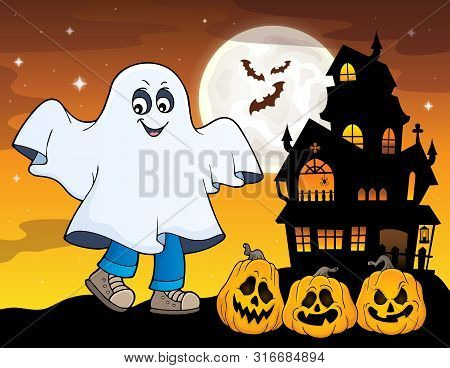 Boy In Ghost Costume Theme Image 1 - Eps10 Vector Picture Illustration.
