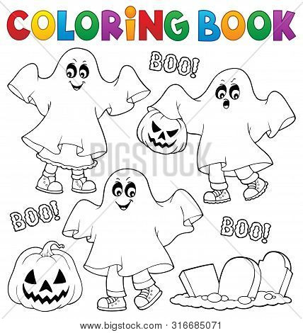 Coloring Book Kids In Ghost Costumes 1 - Eps10 Vector Picture Illustration.