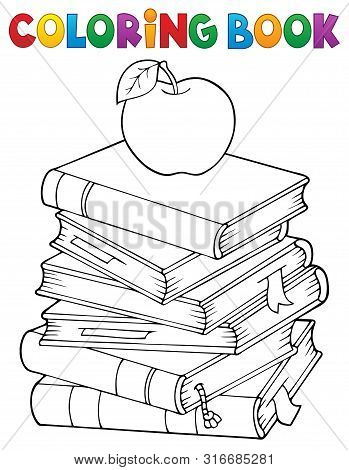 Coloring Book With Literature Theme 1 - Eps10 Vector Picture Illustration.
