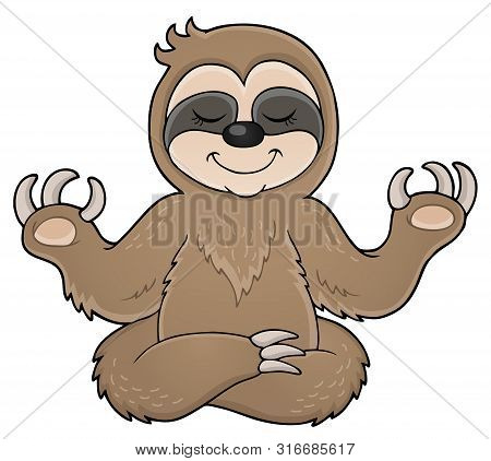 Happy Sloth Theme Image 1 - Eps10 Vector Picture Illustration.