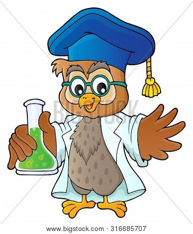 Owl Teacher With Chemical Flask Theme 1 - Eps10 Vector Picture Illustration.