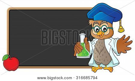 Owl Teacher With Chemical Flask Theme 3 - Eps10 Vector Picture Illustration.