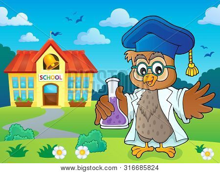 Owl Teacher With Chemical Flask Theme 4 - Eps10 Vector Picture Illustration.