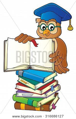 Owl Teacher With Open Book Theme Image 3 - Eps10 Vector Picture Illustration.