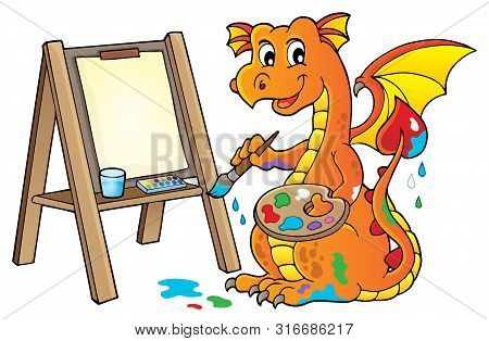 Painting Dragon Theme Image 2 - Eps10 Vector Picture Illustration.
