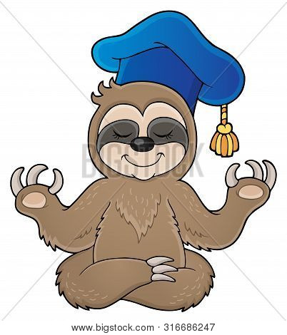 Sloth Teacher Theme Image 1 - Eps10 Vector Picture Illustration.