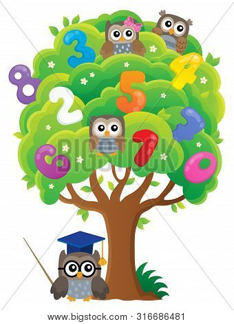 Tree With Owls And Numbers Theme 1 - Eps10 Vector Picture Illustration.