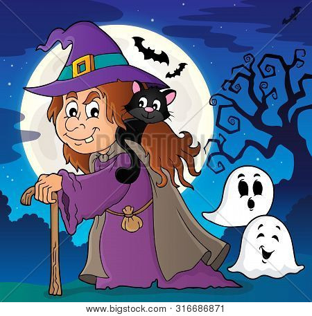 Witch With Cat Topic Image 2 - Eps10 Vector Picture Illustration.
