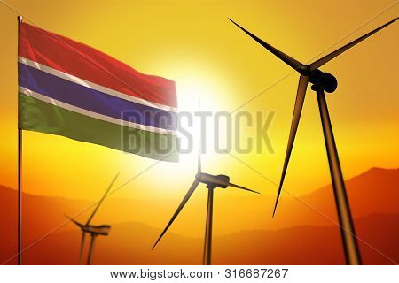 Gambia wind energy, alternative energy environment concept with turbines and flag on sunset - alternative renewable energy - industrial illustration, 3D illustration poster