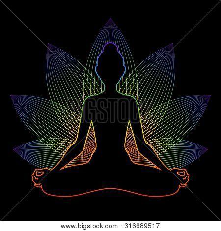 Meditating Woman With Rainbow Aura In Lotus Pose. Yoga Illustration. Colorful Sacral Lotus Flower Ba