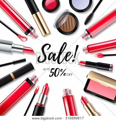Cosmetics Sale Background With Lips And Eyes Products. Make-up Lipstick, Lip Gloss, Eye Shadow, Blus