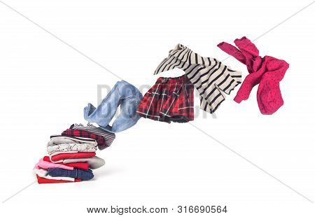 Stack Of Clothing Isolated On White Background,