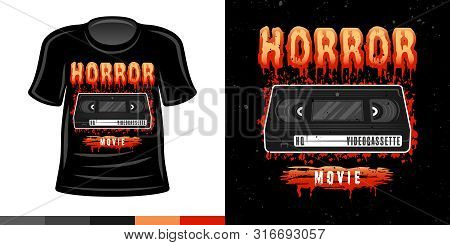 Horror Video Cassette 90s Style Vector Colored T Shirt Apparel Design Print Illustration