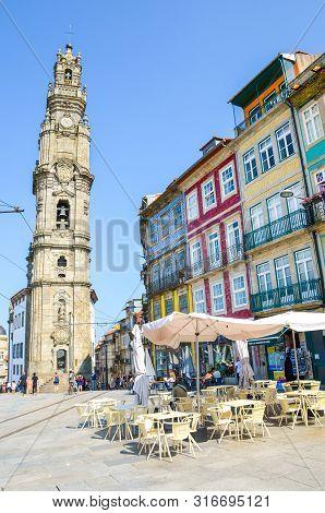 Porto, Portugal - August 31 2018: Famous Clerigos Church, Igreja E Torre Dos Clerigos In Portuguese.