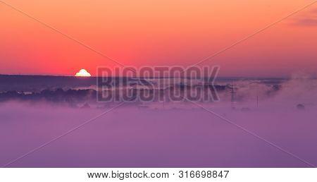 Sunrise On Misty Valley Of Siverskiy Donets River, Zmiiv, Ukraine