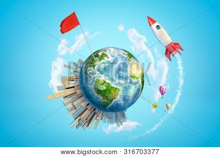 3d Rendering Of Colored Earth Globe With City Buildings, Air Balloons, Red Flag And Space Rocket On