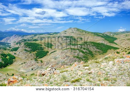 Natural Summer Landscape With Mountains.  Travel And Hike. Mountains Landscape.