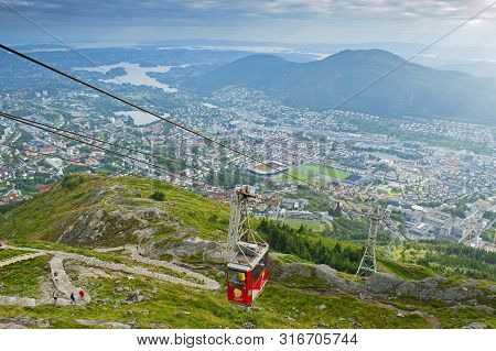 Bergen, Norway - August 4, 2019: Beautiful View With Ulriken Cable Car Seen From The Mount Ulriken I