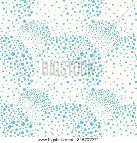 Light Blue Spatter Paint Effect Circles On White Background. Seamless Vector Pattern With Fresh Bubb
