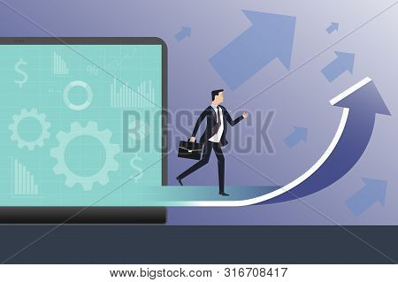 Business - Start Overcoming Obstacles, Concept Vector Cartoon Illustration. Businessman In Office Su