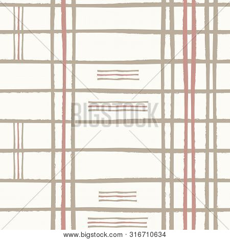 Irregular Pink And Brown Grunge Striped Grid Design With Small Striped Blocks. Seamless Vector Patte
