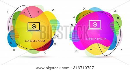 Color Laptop With Dollar Symbol Icon Isolated On White Background. Online Shopping Concept. Economy