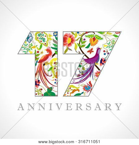 17 Years Old Logotype. 17 Th Anniversary Numbers. Decorative Symbol. Age Congrats With Peacock Birds
