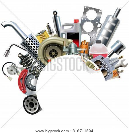Vector Car Spares Frame Concept Isolated On White Background