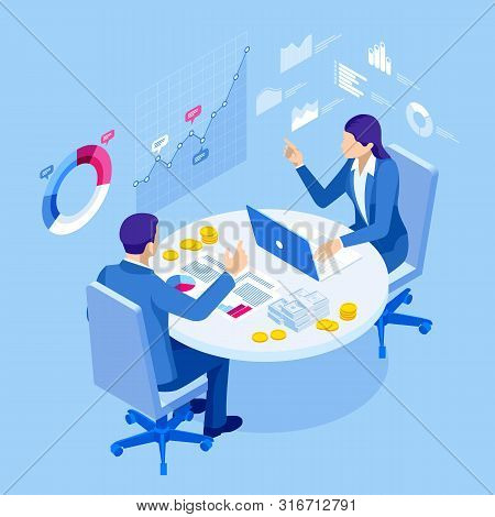 Isometric Business People Talking Conference Meeting Room. Team Work Process. Business Management Te