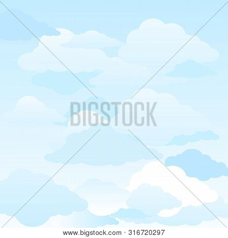 Background Cloud Vector Illustration, White Clouds On The Blue Sky. Abstract Background With Clouds
