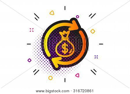 Dollar Money Bag Symbol. Halftone Circles Pattern. Cash Exchange Icon. Money Transfer Sign. Classic