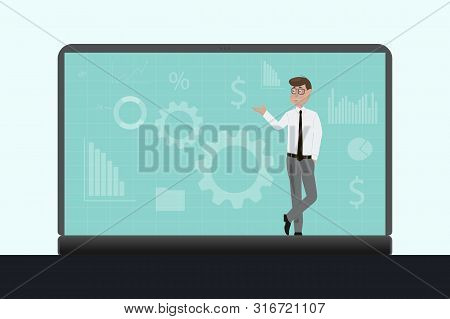 Businessman Stands On A Laptop. Businessman Working In The Stock Market With Financial Charts Bitcoi