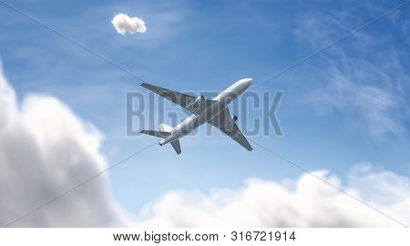 Blank White Airplane Mockup On Sky Background, Bottom View, Depth Of Field And Motion Blur, 3d Rende