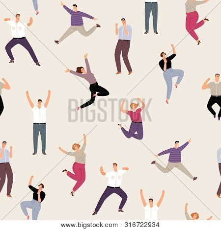 People Man And Woman Happy Jumping Seamless Pattern. People Happy Leap Energetic. Vector Illustratio