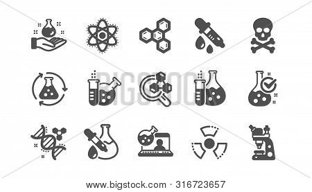 Chemistry Lab Icons. Chemical Formula, Microscope And Medical Analysis. Laboratory Test Flask, React